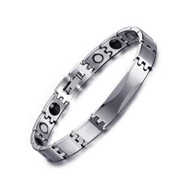 Wholesale Germanium Stones - Fashion Tungsten Germanium Link Chain Bracelets Trendy Health Care Womens Mens Jewelry with Magnet Stone Bracelet Anniversary Gift B882S