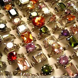 Wholesale Lady Ring Green Stone - brand new 20PCs top women's zircon cz stone metal alloy mixed different styles ladies jewelry rings wholesale lots