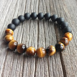 Wholesale Matte Black Onyx Beads Wholesale - Wholesale-New Half Design 10MM Tiger Eye And Matte Black Onyx Men Bead Bracelet High Grade Male Wristband Fashion Handmade Men Jewelry