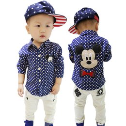 Wholesale Korean Summer Clothes Fashion Wholesale - Baby Boys Shirts Long Sleeve Shirt Polka Dots Spring Autumn Cotton Shirt Boy Korean Kids Clothes