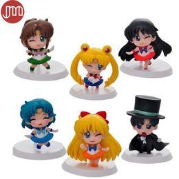 Wholesale Baby Collection Dolls - New 6pcs Sailor moon Toys Tuxedo Mask Mars Mercury Venus Jupiter 5cm Mini Figure Anime Collection Juguetes Baby Doll Cake Topper