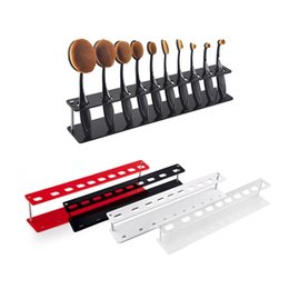 Wholesale Eco Friendly Makeup Brushes Wholesale - 10pcs Toothbrush Oval Makeup Brushes Display Holder Stand Storage Boxes Organizer Brush Showing Rack Plastic Acrylic Brush Stand 2805064