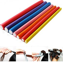 Wholesale Foam Bendy Rollers - Free Shipping 10pieces lot Hair Curling Flexi rods Magic Air Bendy Hair Roller Curler Bendy Hair Sticks random colors