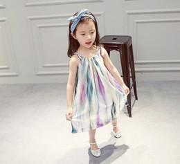 Wholesale Dress Up Set Kids - Girls Chiffon Dress 2016 Baby Kids Clothing Girls Dresses Sleeveless Lace-up Suspender Dress Sunshine Beach Clothes Casual Sets Fashion 9218