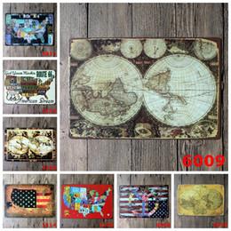 Dipinti da sogno online-lastest 20 * 30cm world global map Mappa degli Stati Uniti Sogno americano Targa in metallo Coffee Shop Bar Ristorante Decorazione di arte della parete Bar Metal Paintings