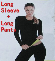 Wholesale Sleeve Shirt Body Shaper - Wholesale-(Long Sleeve T-shirt + Long Pants) Hot Body Shapers T-shirt Control Tops + Stretch Neoprene Slimming Vest Body Shaper Pants
