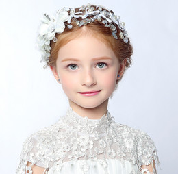 Wholesale Girls Party Head Accessories - Crystal Beaded Bow Girls' Head Pieces Children Hair Flower girls Christmas party Wedding Hair Accessories Jewelry 2016 Hot Sale