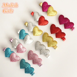 Wholesale Black Heart Hair Clips - NEW Glitter Felt Double Love Heart Design Glittering Hair Clips 48pcs lot Baby Girls Barrettes Bestseller Felt Kids Hairpins