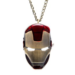 Wholesale Necklace Watches Children - Wholesale-Hot Sale Iron Man Design Pendant Necklace Pocket Watch Best Gift To Kids Children' Day Free Drop Shipping