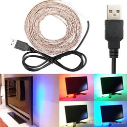 5V USB 5050SMD RGB Tiras LED a prueba de agua 60LED por metro + Controlador RGB para computadora portátil TV Decoración de fondo Iluminación LED flexible desde fabricantes