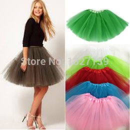 Wholesale Wholesale Tulle Skirt - Wholesale-Fashion Women Girl Tulle Tutu Mini Organza 3 layere Party Skirt underskirt