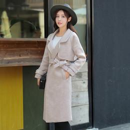 Wholesale Coat Womens Woolen - 2016 Winter New Womens Elegant Thick Long Woolen Coats Female Fashion Long Sleeve Lapel Belt Wool Blend Outerwear Overcoat