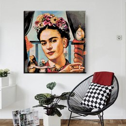 Wholesale Portraits Paintings - ZZ167 Frida Kahlo Self Portrait Canvas Art Print Poster, Wall Paintings for Living Room Decoration Art Picture Home Decor prints