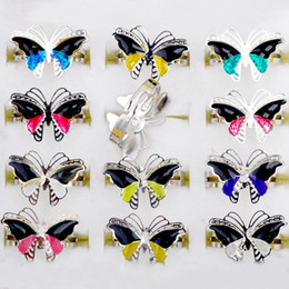 Wholesale New Fashion Butterfly Ring - 100pcs lot 2016 New Arrival Butterfly Mood Rings Changes Color Finger Rings Women Men Fashion Jewelry [MDR02*100]