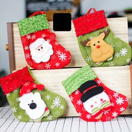 Wholesale Craft Christmas Stockings - Christmas Stockings Hand Made Crafts Children Candy Gift Santa Bag Claus Snowman Deer Stocking Socks Christmas Tree Decoration