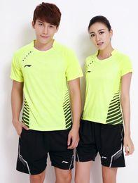 Wholesale Lining Tops Badminton - Chinese Li-Ning Women men Badminton Match Shirts suits, Quick Dry Lining Fitness Comfortable Sports Shirt Li Ning Jersey shorts Tops L556
