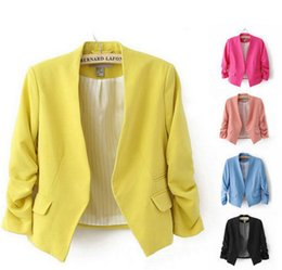 Wholesale Blue Blazer Sale - Hot Sale Women's Blazer Jackets Spring New Solid Color Suit Ruched Sleeve Slim-Fit Thin Coat Cardigan Tops Drop Shipping LC350