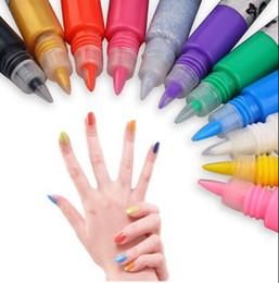 Wholesale Painting Set Kit - 12 Colors Professional Beautiful 3D Nail Art Paint Drawing Pen Acrylic Nail Art Polish Carved Pen Kit Set DIY nail tools