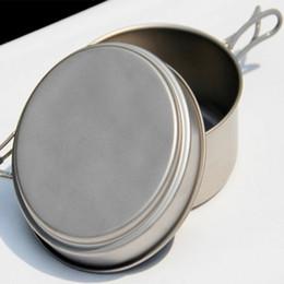 Wholesale Titanium Camping Pots Pans - Wholesale-Hot Sale Cooking Pots And Pans Set Titanium Pots Set Medium Pan & Frying Pan For Camping Traving Hunting Hiking Cooking Set