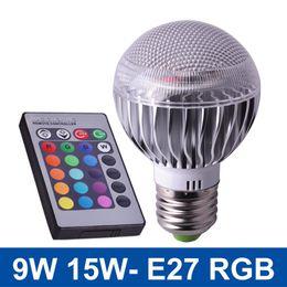 Wholesale E27 Colour - NEW LED RGB lamp 9W 15W E27 RGB LED Bulb Light 85-265V RGB Spotlight With Remote Control Multiple Colour Lampada LED Lighting