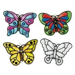 Wholesale Kits Unfinished - Wholesale-Free Shipping 60pcs lot DIY Unfinished Plastic Butterfly Sun Catchers Craft Kit Funny Drawing Toys For Kids