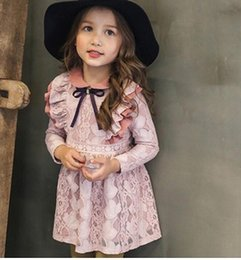 Wholesale Natural Overlay - 2016 Winter Vintage Lace Overlay Princess Girls Ruffles Long Sleeve Dresses Children Girls Pink Yellow Party Velvet Dresses B4284
