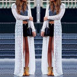 Wholesale Cardigans Maxi Long Length - Wholesale- New Loose Women Boho Lace Floral Sheer Maxi Dress Long Cardigan Beach Shirt
