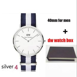 Wholesale Thin Watch Brands - hot Selling Brand Swiss DW men 40mm quartz watch ultra-thin luxury brand Nylon strap watches with Original box Relogio clocks