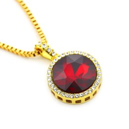 Wholesale Ruby Blue - Iced Out Red Ruby Round Pendant with 3mm 24inch Box Chain Ruby Red Green Blue Black Stone Pendant Necklace