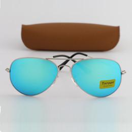 Wholesale Sports Flash Drives - Brand Designer Sunglasses Classic Pilot Sunglasses for Men Women Driving Sunglasses UV400 Silver Metal Frame Flash Mirror Glass Lenses 58mm