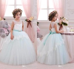 Wholesale Holiday Bridesmaid Dresses - 2016 New Pretty Mint Ivory Lace Tulle Flower Girl Dresses Birthday Wedding Party Holiday Bridesmaid Fancy Communion Dresses for Girls BA3107