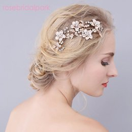 Wholesale Vintage Rhinestone Hair Combs - Rosebridalpark Vintage Wedding Comb Bridal Gold Crystal Combs Rhinestone Head Piece Hairwear Hair Accessories Jewelry Gift A 439
