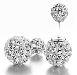 Wholesale Double Stud Ring - 100 pcs Free shipping women's stud earrings fashion jewelry earring for women 925 sterling silver Ear ring accessories diamond double bead