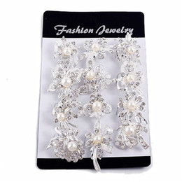 Wholesale Wholesale Small Brooches - Fashion Mix New Silver Pearl Rhinestone Female Wedding Brooches Pearl Set Auger Small Diamond Brooch Chain Scarves Buckle Brooches Jewelry