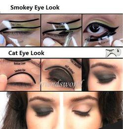 Modello perfetto sopracciglio online-Un paio Perfect Cat Eye Smokey Eye Makeup Eyeliner Modelli Template Top Bottom Eyeliner Card Strumenti ausiliari Sopracciglia Stencil