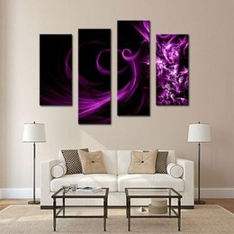 Wholesale Art Modern Oil Painting Purple - 4 Picture Combination Canvas Print Wall Art Painting For Home Decor Purple Smoke Panel Paintings Modern Oil The Picture Decor