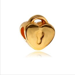 Wholesale Cheap Pandora Beads - 30pcs European Gold Plated Big Hole Charms Loose Beads Fit Pandora Bracelets Jewelry Heart Shape Beads Cheap for Sale Best Friends Girls Mom