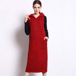 Wholesale Vintage Sweater Vests - Winter Knitted Dress Pockets Casual Long Dress for Women Sleeveless Vest Hooded Neck Loose Knitting Sweater Dresses Vestidos dresses