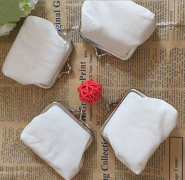 Wholesale Diy Hoops - DIY white pure canvas wallet girls small coin purse blank plain craft gift clutch organizer bags travel cases handmade children kids pouches