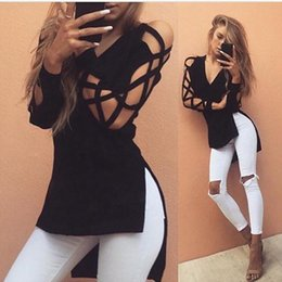 Wholesale New Trendy Clothes - Hot Sales Brand New Women Sexy Hollow Long Sleeve V-Neck Hi-Lo T-Shirts Solid Trendy Fashion Clothing Female Autumn Tops S-XXL