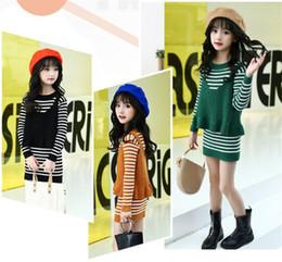 Wholesale Green Girls Set - Mei Chunyi Angle Two-pieces Girls Autumn Striped Long Cotton Sweater and Underwear Children Slim Sweater Dress Sets