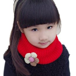 Wholesale Little Girls Scarfs - Amazing Flower Winter Kids Scarf Children Fashion Little Boy Girl Ring Scarf Knitted Neck Warmer