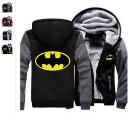Wholesale Batman Sweatshirt Woman - Can be customized pattern Fashion 00 USA size Men Women Batman Zipper Jacket Sweatshirts Thicken Hoodie Coat Clothin