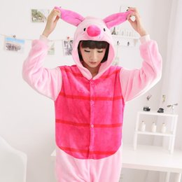 Wholesale Pajamas Pink Leopard - 2017 New Cute Pink Piglet pig Cartoon Animal Pajamas Winter Hoodies Flannel Soft Warm Sleepwear Indoor Costumes Free Shipping
