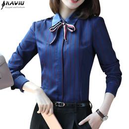 Wholesale ladies formal wear fashion - 2017 New fashion women stripes shirt OL autumn long sleeve formal slim chiffon blouses office ladies work wear plus size tops