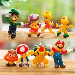 Wholesale Toy Super Miniatures - 8pcs Super Mario Bros Game Figures Key Chains Set yoshi PVC Miniatures Action Figure Keychains Key Rings Kids Toys For Boys Gift