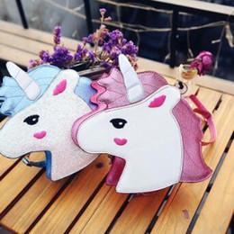 Wholesale Pink Lasers - 2 Colors Personality Laser Sequins Unicorn Shape Shoulder Bag Unicorn Handbag Ladies Purse Unicorn Crossbody Messenger Bag CCA7232 50pcs