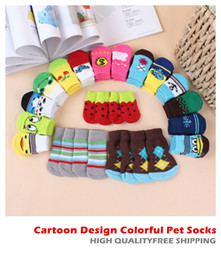 Wholesale Top Design Wholesale Shoes - 20pcs TOP SALE Lowest Price Cartoon Design Colorful Pet Socks Dog Socks dog Non-slip socks pet Anti-skid partic socks cat socks