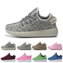 Wholesale Mesh Booties - kids West 350 Boost breathable sneakers 2016 baby Boots Shoes Running Sports Shoes booties toddler shoes eur size 23-35
