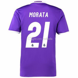 Wholesale Short Soccer Real Madrid - Final Cardiff 2017 Soccer Jerseys,Real Madrid Purple Away #7 Ronaldo Soccer Jerseys With Champions Patches World champions Patch